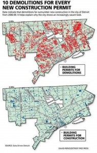 A map of Detroit's vacant properties compared with a map of areas under construction gives an idea of just how many properties have been abandoned in Detroit.